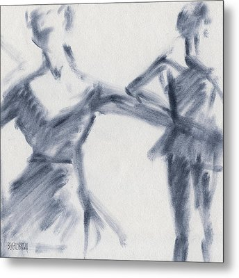 Ballet Sketch Two Dancers Gaze Metal Print