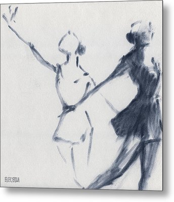 Ballet Sketch Two Dancers Mirror Image Metal Print by Beverly Brown