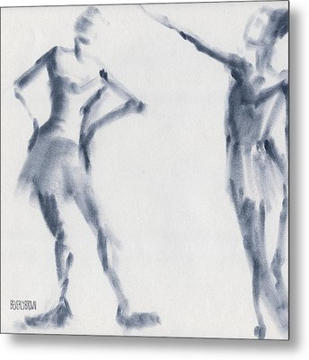 Ballet Sketch Two Dancers Shift Metal Print