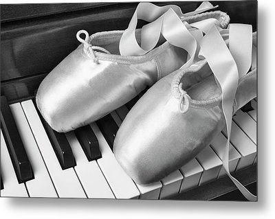 Ballet Slipers In Black And White Metal Print by Garry Gay