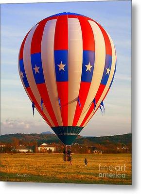 Balloon Landing Metal Print by Deborah Benoit