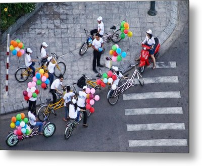 Balloons And Bikes Metal Print by Cameron Wood