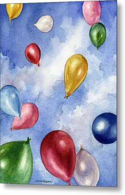 Metal Print featuring the painting Balloons In Flight by Anne Gifford