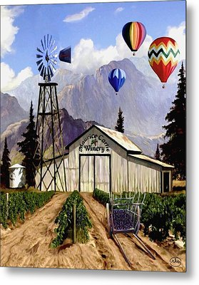 Balloons Over The Winery Metal Print by Ron Chambers