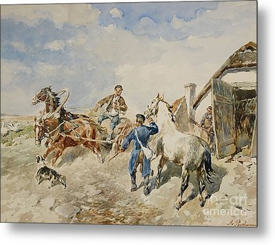 Baltic Farmstead And A Horse And Cart Metal Print by MotionAge Designs