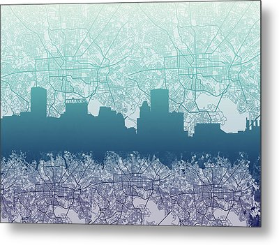 Metal Print featuring the painting Baltimore City Skyline Map 2 by Bekim Art