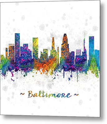 Baltimore Maryland Color 03sq Metal Print by Aged Pixel