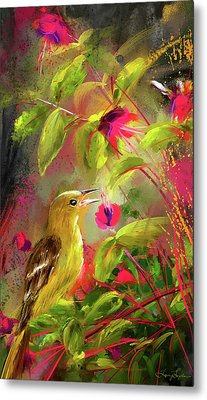 Baltimore Oriole Art- Baltimore Female Oriole Art Metal Print by Lourry Legarde