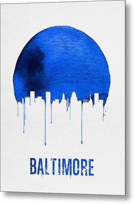 Baltimore Skyline Blue Metal Print by Naxart Studio