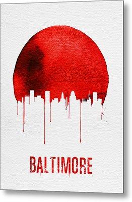 Baltimore Skyline Red Metal Print by Naxart Studio
