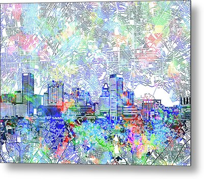 Metal Print featuring the painting Baltimore Skyline Watercolor 10 by Bekim Art