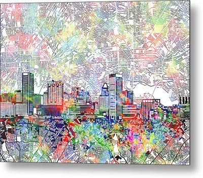 Metal Print featuring the painting Baltimore Skyline Watercolor 11 by Bekim Art