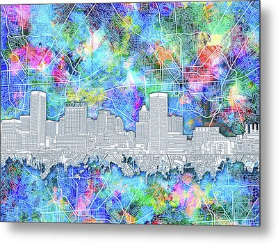 Metal Print featuring the painting Baltimore Skyline Watercolor 14 by Bekim Art