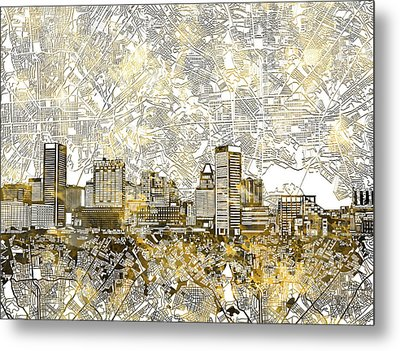 Metal Print featuring the painting Baltimore Skyline Watercolor 8 by Bekim Art