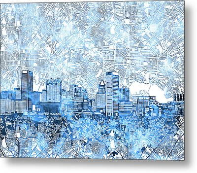 Metal Print featuring the painting Baltimore Skyline Watercolor 9 by Bekim Art