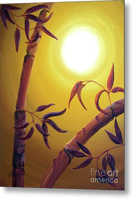 Bamboo After A Light Rain Metal Print by Laura Iverson