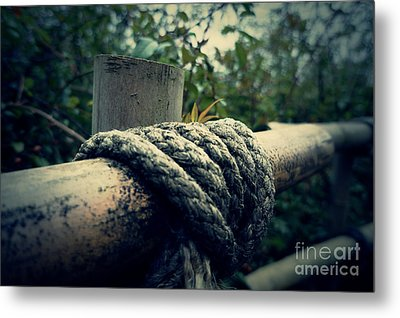 Bamboo And Knotted Rope Metal Print