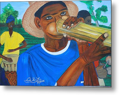 Metal Print featuring the painting Bamboo Blower In Haiti Rara Festival by Nicole Jean-Louis