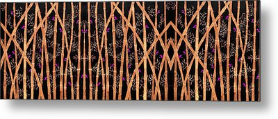 Bamboo Forest At Night Metal Print