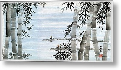 Bamboo Village Metal Print