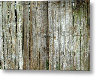 Bamboo Wood Fence Metal Print