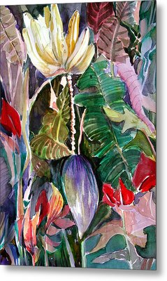 Banana And Pods Metal Print by Mindy Newman