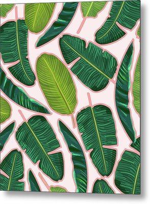 Banana Leaf Blush Metal Print