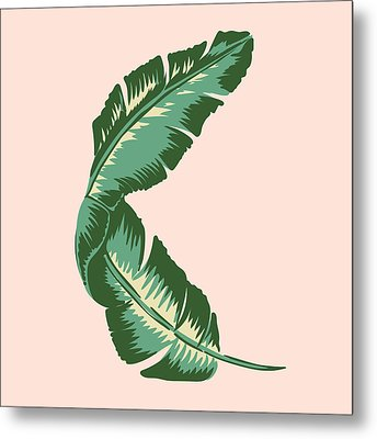 Banana Leaf Square Print Metal Print by Lauren Amelia Hughes