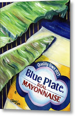 Banana Leaf Series - Blue Plate Mayo Metal Print by Terry J Marks Sr