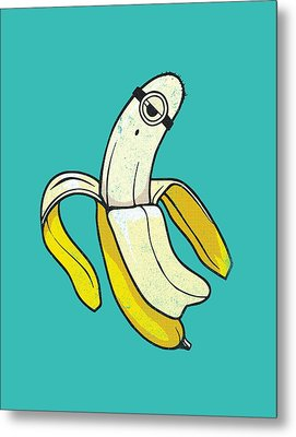 Banana Minion Ghost Metal Print