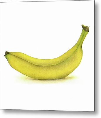 Banana Watercolor Metal Print by Taylan Apukovska