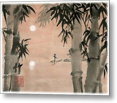 Metal Print featuring the painting Banboo Village by Ping Yan