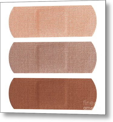 Bandages In Different Skin Colors Metal Print by Blink Images