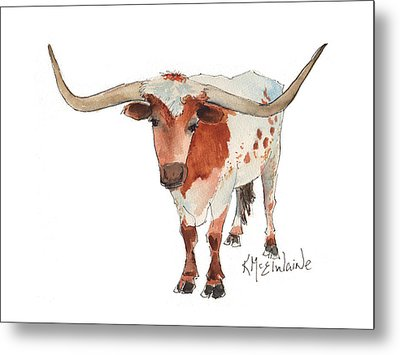 Texas Longhorn Bandero Watercolor Painting By Kmcelwaine Metal Print