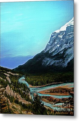 Metal Print featuring the painting Banff Alberta Rocky Mountain View by Patricia L Davidson