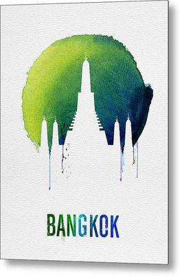 Bangkok Landmark Blue Metal Print by Naxart Studio