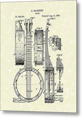 Banjo 1882 Patent Art Metal Print by Prior Art Design