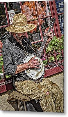 Banjo Man Orange Metal Print by Jim Thompson