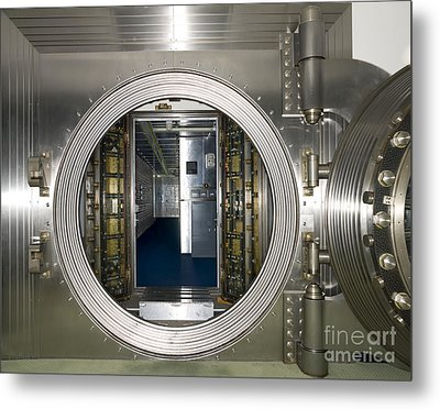 Bank Vault Interior Metal Print by Adam Crowley