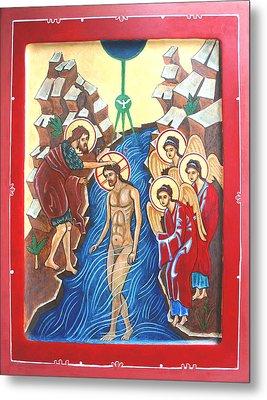 Baptism Of Christ             Theophany Metal Print by Phillip Schwartz