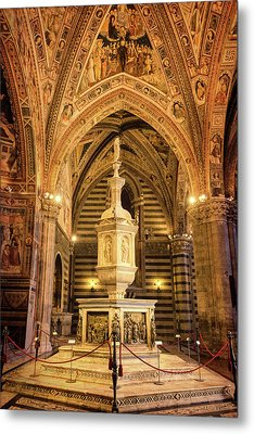 Metal Print featuring the photograph Baptistery Siena Italy by Joan Carroll