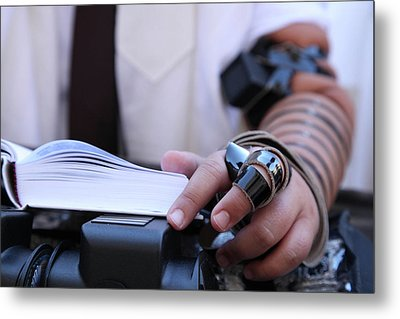 Bar Mitzvah Celebration With Tefillin  Metal Print by Yoel Koskas