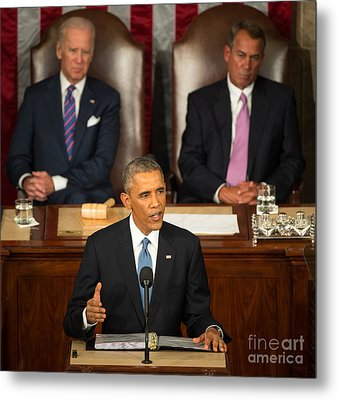 Barack Obama 2015 Sotu Address Metal Print by Science Source
