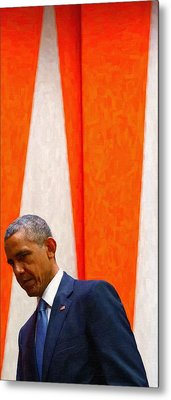 Barack Obama At White House 6 Metal Print by Celestial Images