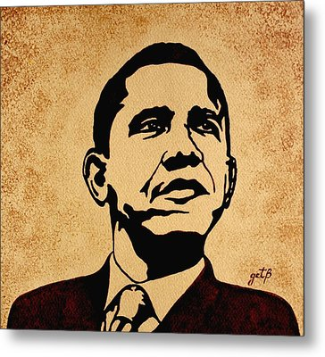 Barack Obama Original Coffee Painting Metal Print