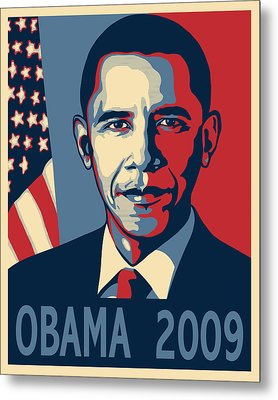 Barack Obama Presidential Poster Metal Print by Sue  Brehant