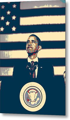 Barack Obama With American Flag 4 Metal Print by Celestial Images