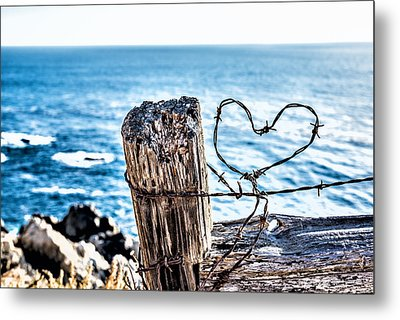Barb Wire Heart Metal Print by Joseph S Giacalone