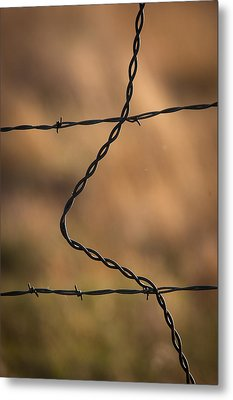 Barbed And Bent Fence Metal Print