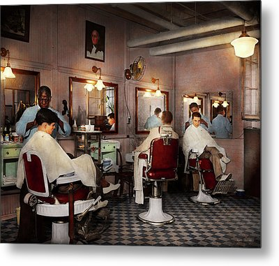 Metal Print featuring the photograph Barber - Senators-only Barbershop 1937 by Mike Savad
